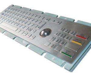 Антивандальная криптованная металлическая клавиатура SZZT ZT599K с трекболом и пин-падом